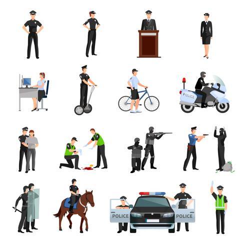 Set di icone di colore piatto di polizia persone vettore