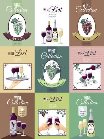 Set di Poster di menu vino vettore