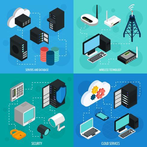 Set di icone isometriche di data center 2x2 vettore