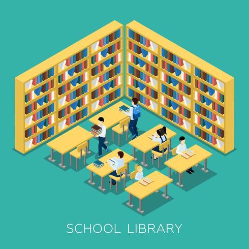 Insegna isometrica della biblioteca della scuola media di istruzione vettore