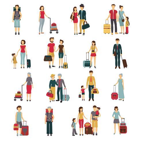Collezione di icone piatte di viaggiatori con bagagli vettore