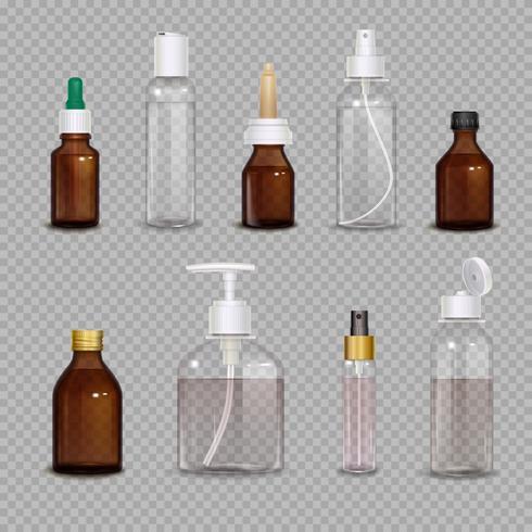 Bottiglie realistiche su sfondo trasparente vettore