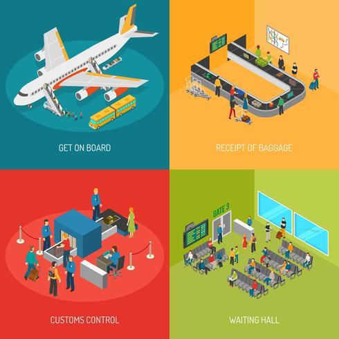 concetto di immagini aeroporto 2x2 vettore