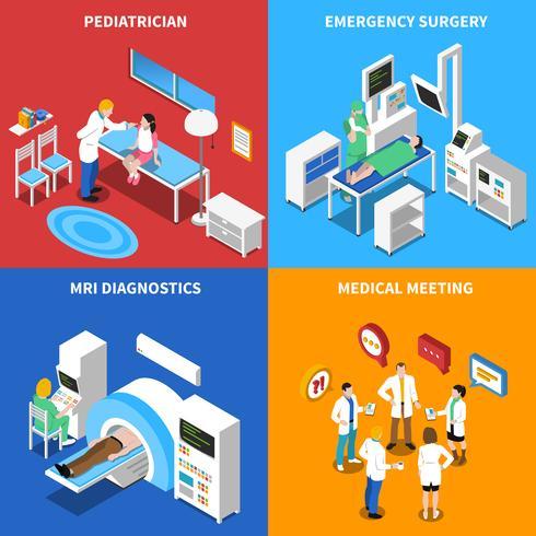 paziente di ospedale 4 icone quadrate isometriche vettore