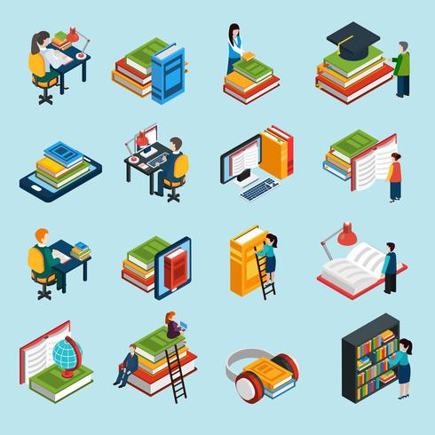 Set di icone isometriche di libreria vettore