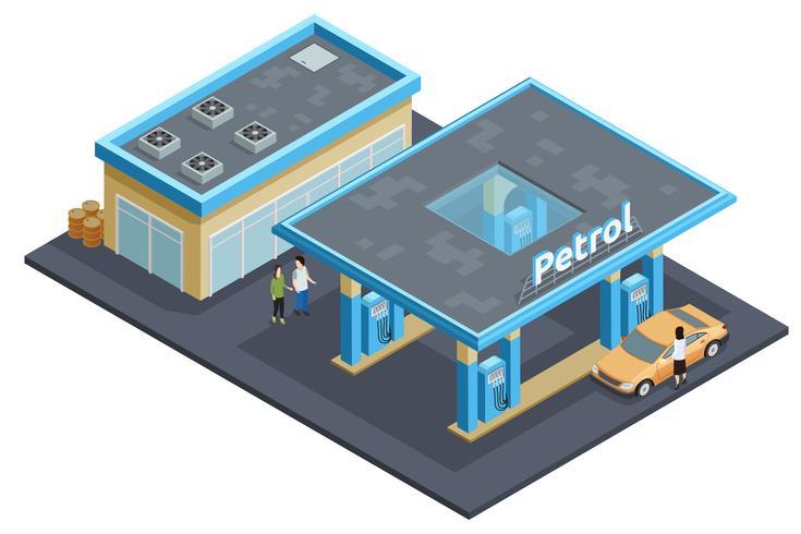 Poster di immagine isometrica complessa stazione di benzina vettore