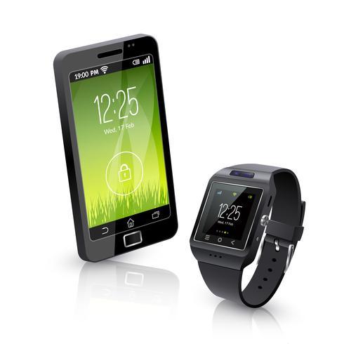 Orologio intelligente con composizione realistica del telefono vettore