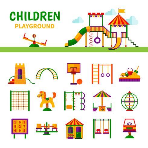 Attrezzature per parchi giochi per bambini vettore