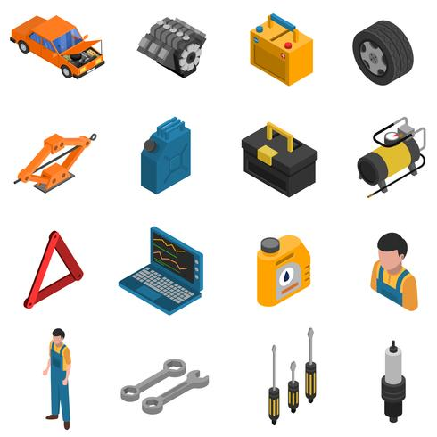 Insieme isometrico isolato dell'icona di servizio dell'automobile vettore