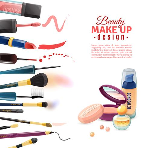 Cosmetici Beauty Make-up Design POster vettore