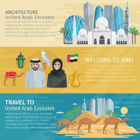 Set di bandiere di viaggio degli Emirati Arabi Uniti vettore