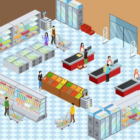 Poster di composizione isometrica interni supermercato moderno vettore