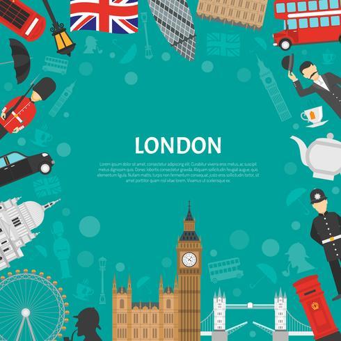 Poster piatto di London City Frame Background vettore