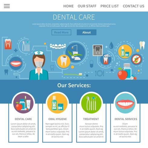 Disegno della pagina di cure dentistiche vettore