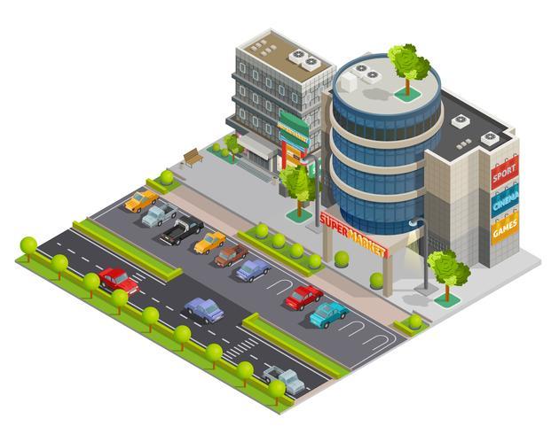 Composizione isometrica di Street View centro commerciale vettore