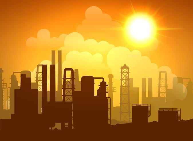 Poster della raffineria di petrolio vettore