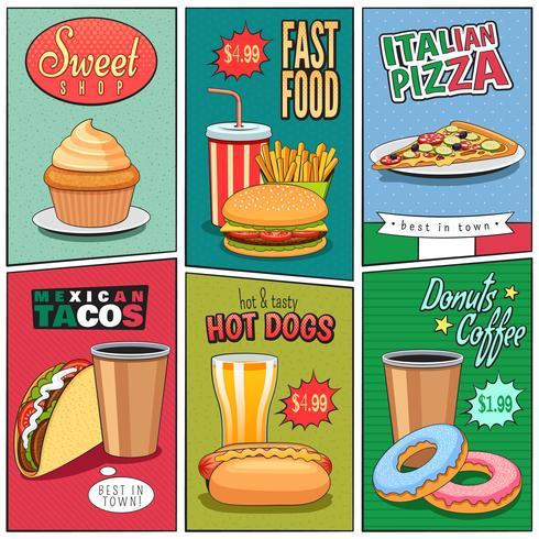 Collezione di mini manifesti di fumetti di Fast Food vettore