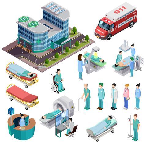 Icone isolate isometriche dell'ospedale vettore