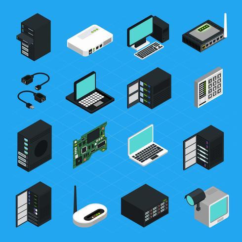 Set di icone di attrezzature per data center server vettore