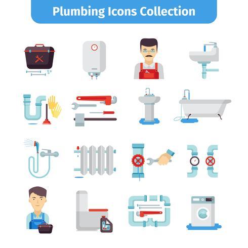 Collezione di icone piane di impianti idraulici vettore