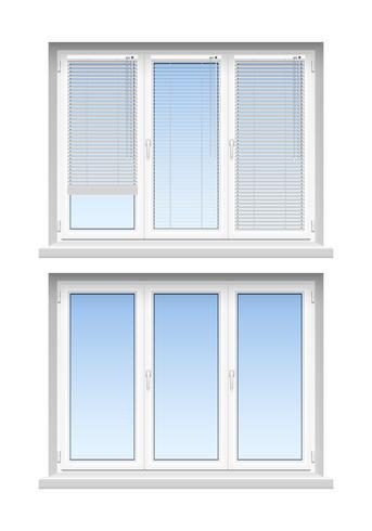 Plastic Windows Jalousies 2 icone realistiche vettore