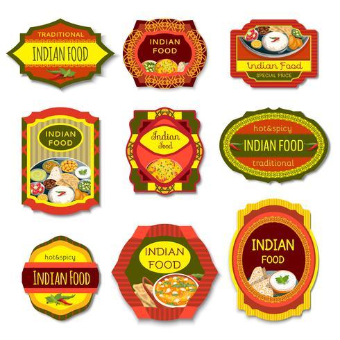 Emblemi colorati cibo indiano vettore