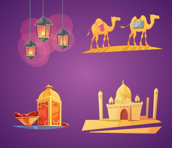 icone del fumetto di ramadan vettore