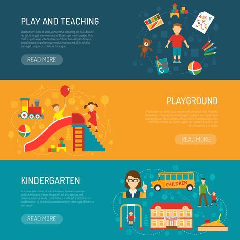 Bandiere Horizonta Kindergarten vettore