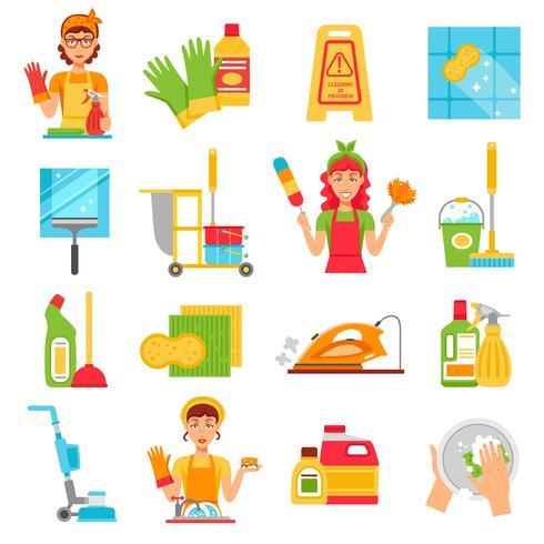 Set di icone del servizio di pulizia vettore