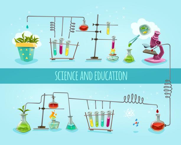 Banner piatto laboratorio di scienza e istruzione vettore