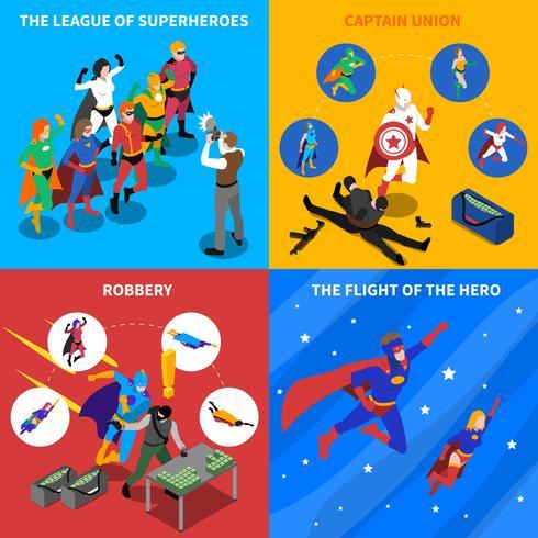 Set di icone isometriche di concetto di supereroe vettore