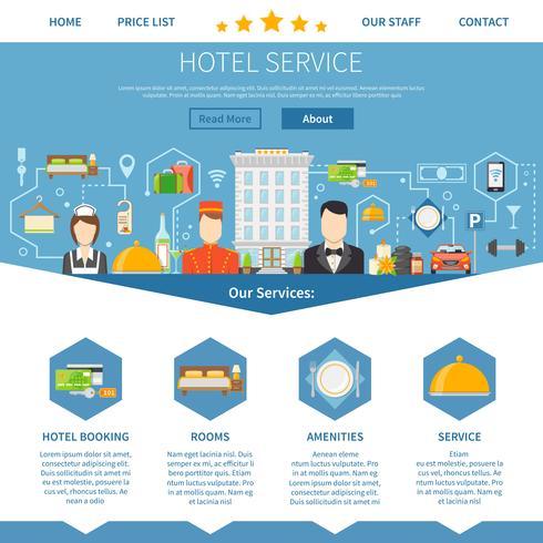 Design della pagina di servizio alberghiero vettore