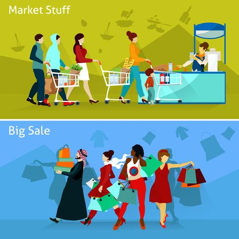 Shopping Composizioni impostate vettore