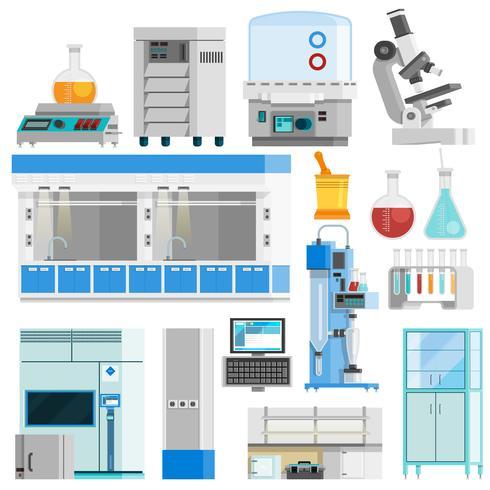 Icone isolate di colore piano di scienza vettore