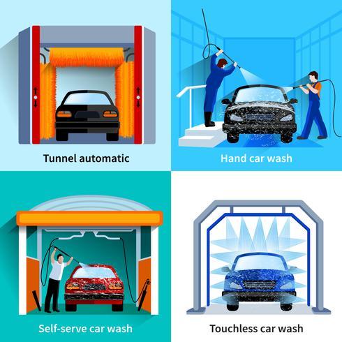 Car Wash Service 4 icone piane vettore