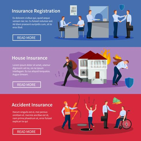 Set di banner di assicurazione personale e casa vettore