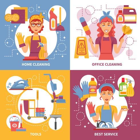 Concetto di progetto di servizio di pulizia vettore