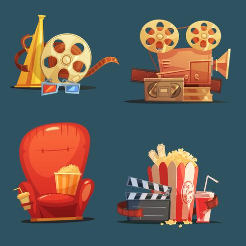Insieme del fumetto di simboli di film retrò cinema vettore