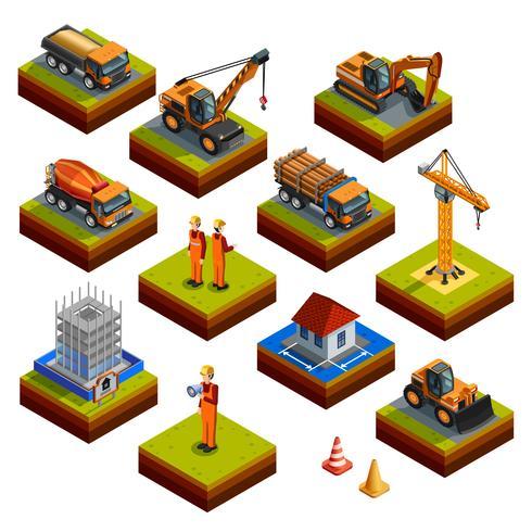 Icone isometriche isolate di costruzione vettore