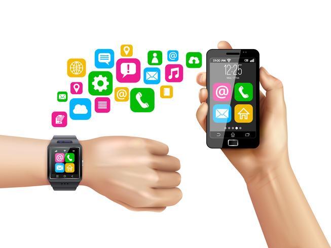 Simboli di trasferimento dati Smartwatch compatibili con smartphone vettore