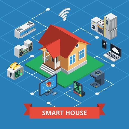 Smart House isometrica vettore