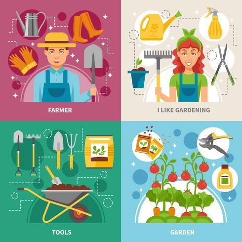 Banner quadrato di concetto di giardinaggio 4 icone vettore