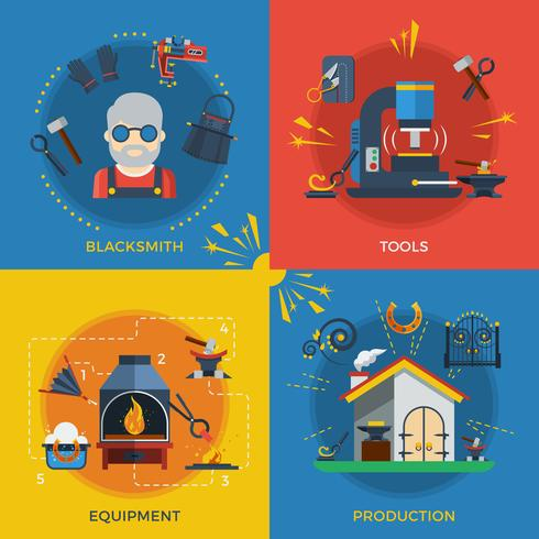 Blacksmith 2x2 Design Concept vettore