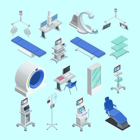 Set di icone isometriche attrezzature mediche vettore