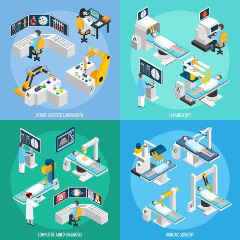 Concetto di design isometrica 2x2 di chirurgia robotica vettore