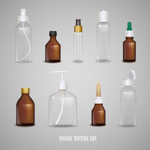 Set di bottiglie realistiche trasparenti vettore