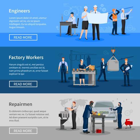 Insegne orizzontali dei lavoratori della fabbrica vettore