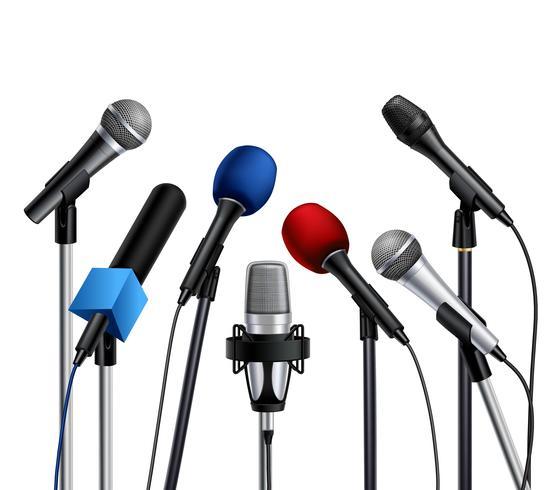 Conferenza stampa microfoni vettore