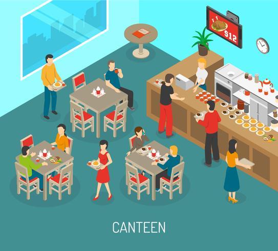 Illustrazione isometrica del manifesto del pranzo della mensa del posto di lavoro vettore