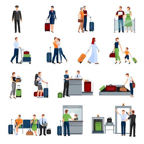 Persone in icone di colore piatto aeroporto vettore